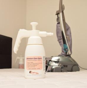 Hier sehen Sie unsere POTEMA® Austria Matratzenreinigungsmaschine und unseren Matratzen Clean Spray - Sauberkeit und Hygiene pur